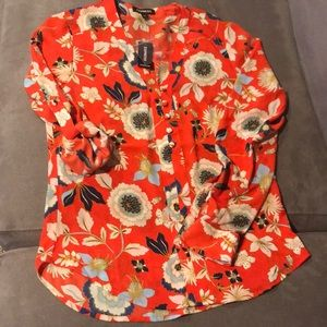 Express Orange Floral Long Sleeve Blouse Tunic XS